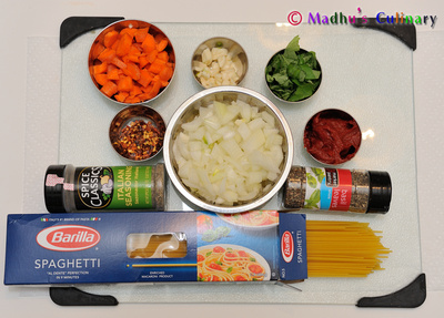 Veggie Spaghetti Ingredients
