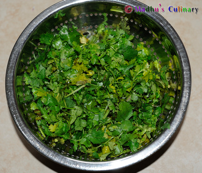 Making of Kothamalli (Coriander leaves) Thokku