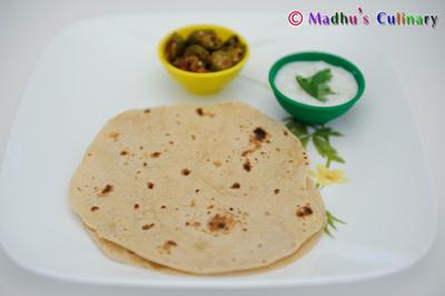 Bhindi (Okra) Masala with Roti and Onion Raita