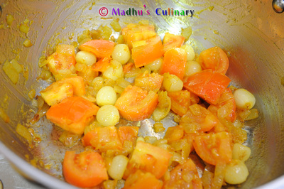 Bisibelabath Prep - Onion, Tomato Saute